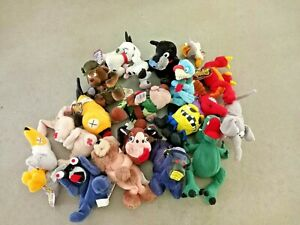 Lot of 17 Meanies Stuffed Beanie Plush Animals Babies Vintage Toy