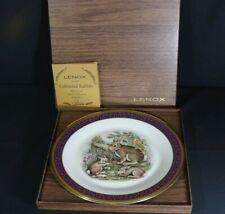 1975 Lenox Boehm Woodland Wildlife Plate Cottontail Rabbits Coa & Box Mint