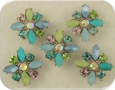 2 Hole Beads Flowers X Shape~Swarovski Elements~Beach Colors Aqua Blue Sage 5 pc