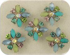 2 Hole Beads Flowers X Shape~Swarovski Elements~Beach Colors Aqua Blue Sage 5 pc