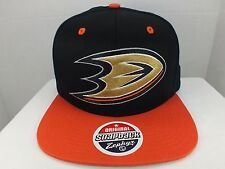 Anaheim Ducks NHLRetro Logo Black/Orange Snapback Hat Cap New By Zephyr