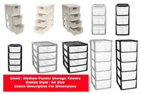 NEW PLASTIC STORAGE TOWERS - RATTAN STYLE - A4 SIZE - STRONG TOWERS - FREE P&P -