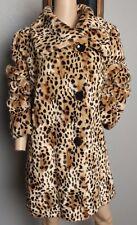 Incognita Faux Fur Leopard Animal Spotted Print Plush Soft Vegan Coat Jacket L