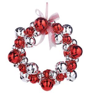 "19"" JINGLE BELL Red & Silver CHRISTMAS WREATH Front Door Metal RAZ W4032718 NEW"