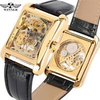 WINNER Rectangle Shape Skeleton Dial Mechanical Hand WindingWomen Wrist Watch