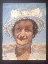 Tableau Huile Expressionniste Portrait Femme au Chapeau monogramme