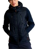 Superdry Storm Hybrid Zip Up Hoodie Mens Hood Jacket Top Navy Black Blue