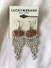 Lucky BRAND Silver-tone Rusty Pink & White Stone Chandelier Earrings