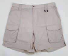 COLUMBIA Shorts PFG Mens LARGE Nylon BEIGE Fishing SUMMER Fly SIZE Sz CARGO Man*