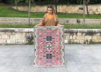 3x4 VINTAGE TURKISH TRIBAL RUG OUSHAK, LOW PILE WOOL RUG HANDMADE RUG RUNNER