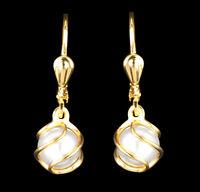 ECHT GOLD *** Perlen Ohrringe Ohrhänger Perle im Käfig