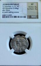 Roman Republic Ti Veturius Denarius Ngc Xf 4/3 Ancient Silver Coin