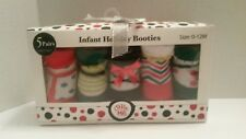 HOLIDAY BOOTIES INFANT 5 PAIRS SIZE 0-12 MONTHS LITTLE ME NEW!
