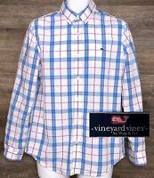 Vineyard Vines Men's Cotton Multicolor Plaid Long Sleeve Shirt w/ Whale Logo M