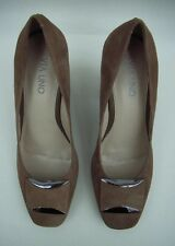 NWOT VIA UNO Real Suede Court Shoes Heels UK 5 EU 38 Taupe Made In Brazil