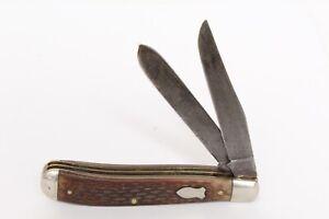 Schrade Walde N.Y. USA 293 Dual Two Blade Straight Edge Folding Pocket Knife