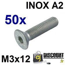 50x Vis FHC (BTR) - M3x12 - INOX A2 - DIN 7991 - 6 pans creux