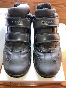 Geox Boy's Black Trainers Size UK 1.5 EU 34. Used. Boxed.