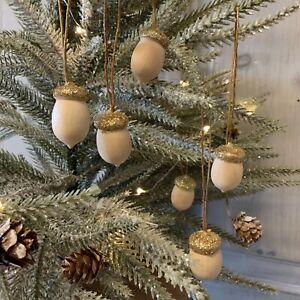 6 x Mini Acorn Hanging Decorations Christmas Gold Wood Gisela Graham Vintage