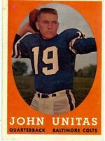 Johnny Unitas 1958 Topps Vintage Football Card Baltimore Colts #22 EX