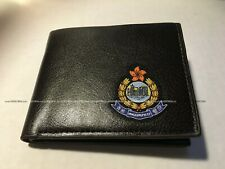 Hong Kong Police Bi-fold Leather Wallet with color woven badge, dark brown
