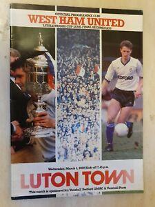1989 LEAGUE CUP WEST HAM UNITED v LUTON TOWN - Semi Final 2nd Leg -1st March