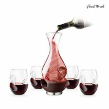 Final Touch Conundrum Red Wine Gift Set Aerating Wine Decanter, Stemless Glasses