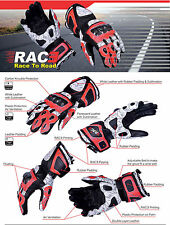 RAC3 Motorbike Fluorescent Sublimation Carbon Knuckle Cowhide Leather Gloves