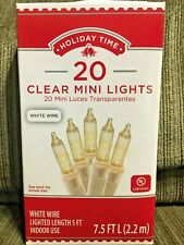 Holiday Time 20 Clear White Mini Lights White Wire Nib