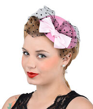 Noble 50s bucles Bow red tul pillbox Headpiece sombrero rockabilly