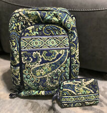 Vera Bradley Large Backpack and Cosmetic Bag Green/Blue Paisley Rhythm And Blues