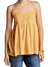 Free People Mango Orange Embroidered Tank Top Size Small - $78 - NWT