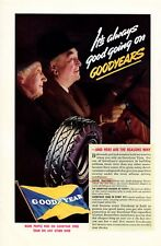 1937 Vintage print ad car part Goodyear Tire Old Couple smiles French Line ships