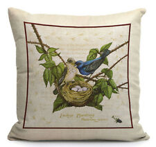 Kissenhülle -bezug Motivkissen Indigofinkenpaar mit Nest und Gelege Canvas-Stoff
