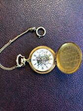VINTAGE ARNEX  17 Jewels Swiss Incabloc Moose & Mountain Theme Pocket Watch