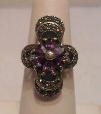 Vintage Antique Estate~Amethyst & Marcasite 925 Sterling Silver Ornate Ring Sz 7