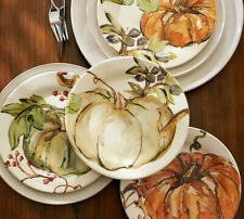 NEW Pottery Barn Thanksgiving Fall Watercolor HARVEST PUMPKIN Salad Plates SET/4