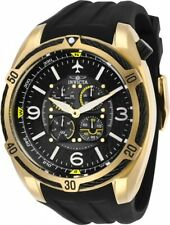Invicta 28079 Aviator Men's Chronograph 50mm Gold-Tone Black Rubber Watch
