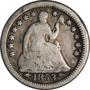 1853-P H10C SEATED SILVER HALF DIME VG+ CONDITION  041521052
