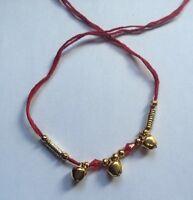Good Luck Hindu red thread with 3 dangling bells Bracelet 24 Ct Gold affect V1