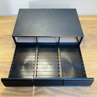 Vintage Wooden Black Ash Effect 3 Drawer Cassette Storage Box Unit Hold 36 Tapes