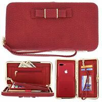 Women's Purse Pouch Bowknot Handbag Wallet Case Cover for iPhone & Samsung Model