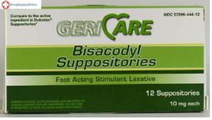 McK Geri-Care Bisacodyl Suppositories Stimulant Laxative 10 mg Strength 12 Ct