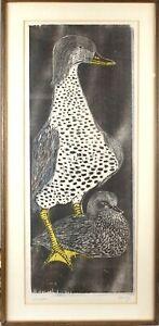 Large HELEN SIEGL Signed Mid Century Modern GUARDIAN Woodcut Print DUCKS