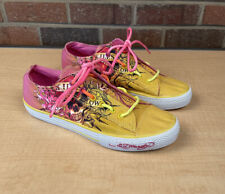Ed Hardy Womens Sz 8 Pink Yellow Low Top Sneakers Shoes Laceless Skull Flowers