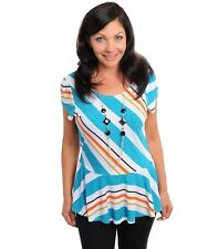Ladies Womens Peplum Stretch SUMMER STRIPED Top WITH DETACHABLE Necklace Size 14