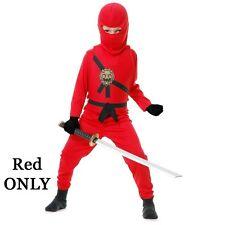 Child Warrior Ninjas Red Blue Black White Ninja Assassin Suit Halloween Costume