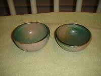 Original Art Pottery Bowls Signed Cod B'dos Green Color Pottery Pair Bowls