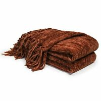 "Knitted Throw Blanket Couch Chair Bed Fluffy Chenille Blankets 60"" x 50"" Rust"
