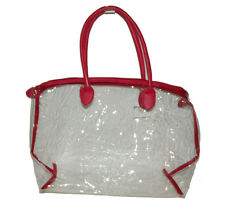New LARGE Red Clear Transparent See-thru Bag Handbag Work Tote Purse PVC Plastic